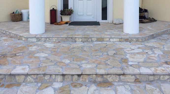 Realizace kamenná dlažba Mediterran bílá, Stone Idea - Kamenné dlažby a obklady, dekorace z přírodního kamene
